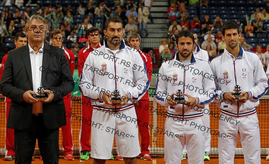 Tennis Tenis<br /> Davis Cup semifinal polufinale<br /> Serbia v Canada<br /> Award ceremony<br /> Slobodan Zivojinovic Nenad Zimonjic Janko Tipsarevic and Novak Djokovic<br /> Beograd, 14.09.2013.<br /> foto: Srdjan Stevanovic/Starsportphoto &copy;