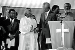 SOWETO, SOUTH AFRICA - APRIL 15: Former President Nelson Mandela of South Africa greets Desmond Tutu at a pre-election rally weeks before the historic democratic election on April 15, 1994 in Soweto, South Africa. The ANC freedom fighter was in prison for 27 years and released in 1990. He became President of South Africa after the first multiracial democratic elections in April 1994. Mr. Mandela retired after one term in 1999 and gave the leadership. (Photo by Per-Anders Pettersson).