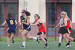 Santa Barbara, CA 02/18/12 - Maddie Palmer (Michigan #27) and Mary McCue (Georgia #14) in action during the Georgia-Michigan matchup at the 2012 Santa Barbara Shootout.  Georgia defeated Michigan 12-10.
