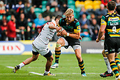 9th September 2017, Franklins Gardens, Northampton, England; Aviva Premiership Rugby, Northampton Saints versus Leicester Tigers; Harry Mallinder of Northampton Saints is tackled by Jonny May of Leicester Tigers