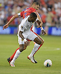 Jose Fajardo (17) of Panama and Omar Gonzalez (3) of the United States vie for the ball during their Gold Cup match on June 26, 2019 at Children's Mercy Park in Kansas City, KS.<br /> Tim VIZER/AFP