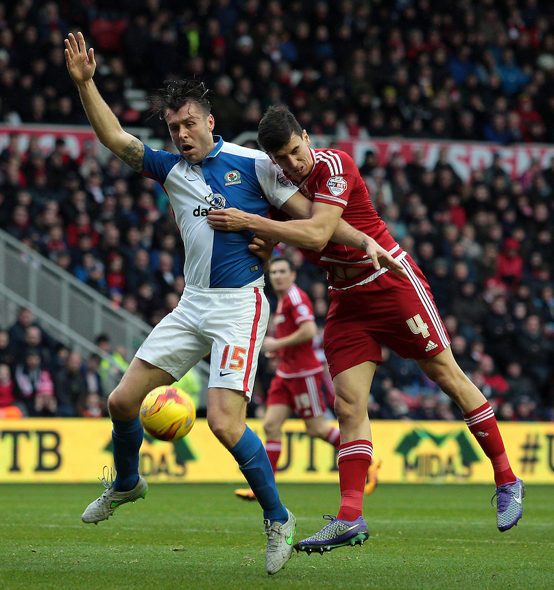 Blackburn Rovers' Elliott Ward battles with Middlesbrough's Daniel Ayala<br /> <br /> Photographer David Shipman/CameraSport<br /> <br /> Football - The Football League Sky Bet Championship - Middlesbrough v Blackburn Rovers - Saturday 6th February 2016 - Riverside Stadium - Middlesbrough <br /> <br /> &copy; CameraSport - 43 Linden Ave. Countesthorpe. Leicester. England. LE8 5PG - Tel: +44 (0) 116 277 4147 - admin@camerasport.com - www.camerasport.com