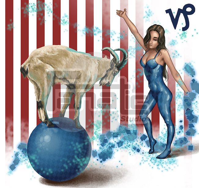 Illustrative image of female performer looking at goat balancing on sphere representing Capricorn sign