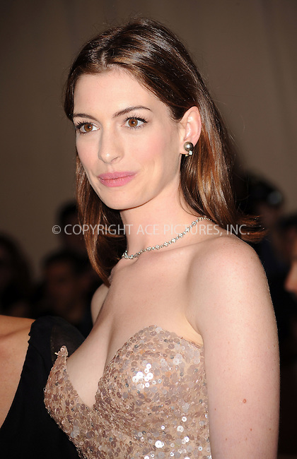 WWW.ACEPIXS.COM . . . . . ....May 3 2010, New York City....Anne Hathaway arriving at the Costume Institute Gala Benefit to celebrate the opening of the 'American Woman: Fashioning a National Identity' exhibition at The Metropolitan Museum of Art on May 3, 2010 in New York City.....Please byline: KRISTIN CALLAHAN - ACEPIXS.COM.. . . . . . ..Ace Pictures, Inc:  ..(212) 243-8787 or (646) 679 0430..e-mail: picturedesk@acepixs.com..web: http://www.acepixs.com