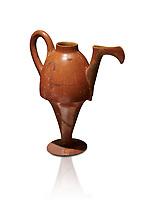 Terra cotta Hittite beaker shaped side spouted pitcher - 1700 BC to 1500BC - Kültepe Kanesh - Museum of Anatolian Civilisations, Ankara, Turkey. Against a white background