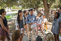 Sophal Ear, Associate Professor, Diplomacy & World Affairs. Incoming first years meet with their faculty advisors during the Major Information Sessions & Advising part of Orientation in the Academic Quad, Aug. 24, 2015.<br /> (Photo by Marc Campos, Occidental College Photographer)