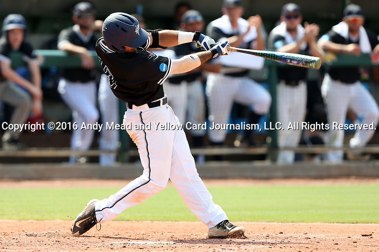 04 June 2016: Nova Southeastern's Kevin Suarez hits a home run. The Nova Southeastern University Sharks played the Millersville University Marauders in Game 14 of the 2016 NCAA Division II College World Series  at Coleman Field at the USA Baseball National Training Complex in Cary, North Carolina. Nova Southeastern won the game 8-6 and clinched the NCAA Division II Baseball Championship.