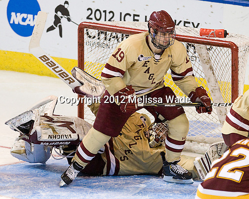 Parker Milner (BC - 35), Chris Kreider (BC - 19) - The Boston College Eagles defeated the University of Minnesota Duluth Bulldogs 4-0 to win the NCAA Northeast Regional on Sunday, March 25, 2012, at the DCU Center in Worcester, Massachusetts.