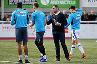 Havant and Waterlooville Manager, Lee Bradbury chats to his players ahead of kick-off during Maidstone United vs Havant and Waterlooville, Vanarama National League Football at the Gallagher Stadium on 9th March 2019