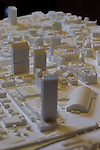 © Joel Goodman - 07973 332324 - all rights reserved . No onward sale/supply/syndication permitted . 28/07/2016 . Manchester , UK . Proposed model of the site . Launch of the St Michael's city centre development , at the Lord Mayor's Parlour in Manchester Town Hall . Backed by The Jackson's Row Development Partnership (comprising Gary Neville , Ryan Giggs and Brendan Flood ) along with Manchester City Council , Rowsley Ltd and Beijing Construction and Engineering Group International , the Jackson's Row area of the city centre will be redeveloped with a design proposed by Make Architects . Photo credit : Joel Goodman