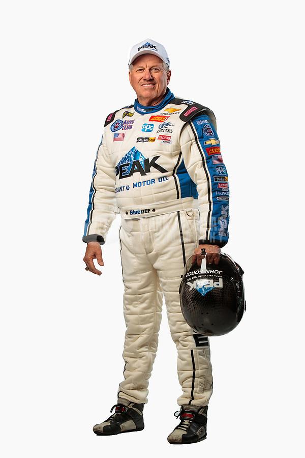 Feb 6, 2019; Pomona, CA, USA; NHRA funny car drivers John Force poses for a portrait during NHRA Media Day at the NHRA Museum. Mandatory Credit: Mark J. Rebilas-USA TODAY Sports