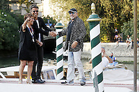 Vasco Rossi, right, arrives at the Darsena to attend the 72nd Venice Film Festival at the Excelsior Hotel in Venice, Italy, September 11, 2015.<br /> UPDATE IMAGES PRESS/Stephen Richie