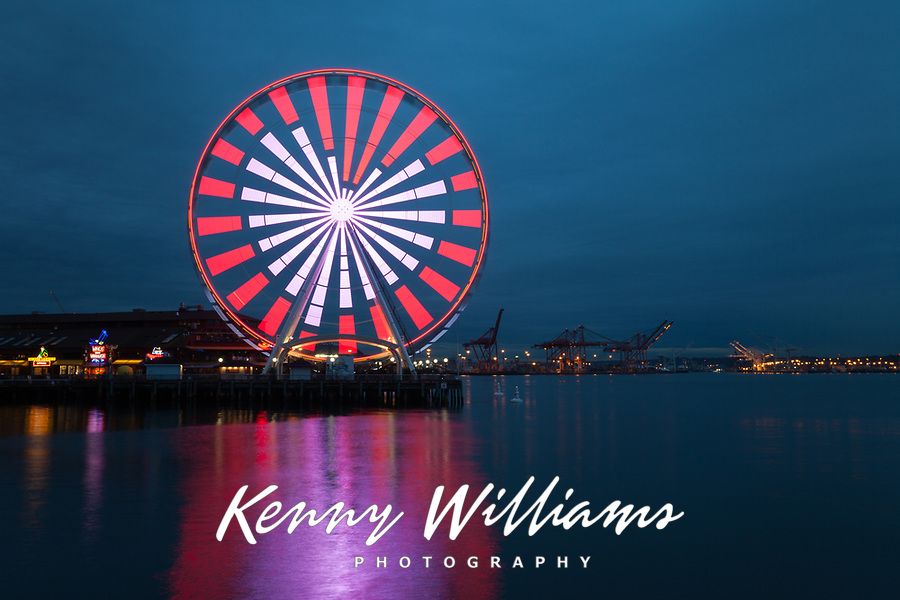 Seattle Great Wheel Lit with Red & White Heart on Valentine's Day, Washington, USA.