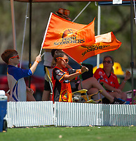 24th November 2019; Lilac Hill Park, Perth, Western Australia, Australia; Womens Big Bash League Cricket, Perth Scorchers versus Sydney Sixers; Young Scorchers fans wave their teams flags - Editorial Use
