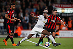 Paul Pogba of Manchester United goes down under a tackle by Andrew Surman of Bournemouth during the premier league match at the Vitality Stadium, Bournemouth. Picture date 18th April 2018. Picture credit should read: David Klein/Sportimage