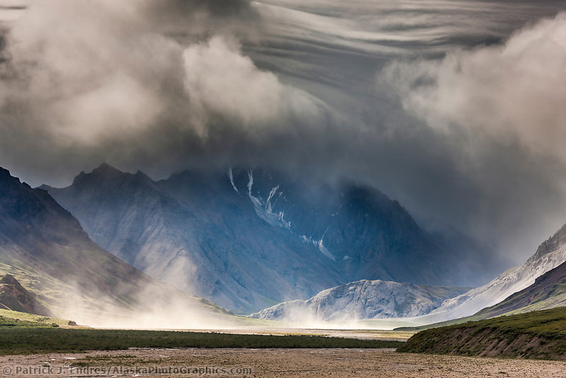 Stormy clouds over the Alaska range mountains of the East fork Toklat river, Denali National Park, interior, Alaska.
