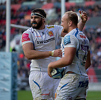 Exeter Chiefs' Tom Lawday celebrates scoring his side's second try with Exeter Chiefs' Don Armand<br /> <br /> Photographer Bob Bradford/CameraSport<br /> <br /> Gallagher Premiership Round 7 - Bristol Bears v Exeter Chiefs - Sunday 18th November 2018 - Ashton Gate - Bristol<br /> <br /> World Copyright &copy; 2018 CameraSport. All rights reserved. 43 Linden Ave. Countesthorpe. Leicester. England. LE8 5PG - Tel: +44 (0) 116 277 4147 - admin@camerasport.com - www.camerasport.com