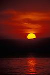 Sunset over Lake Tanganyika and Congolese Mountains. Gombe National Park, Tanzania