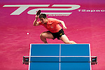 Dimitrij Ovtcharov of Germany vs Zhendong Fan of China at their Men's Singles Quarter Final match during the Seamaster Qatar 2016 ITTF World Tour Grand Finals at the Ali Bin Hamad Al Attiya Arena on 10 December 2016, in Doha, Qatar. Photo by Victor Fraile / Power Sport Images