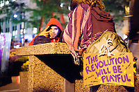 "The protest ""Occupy Wall Street"" continues into its third week in Zuccotti Park in New York City on October 6, 2011."