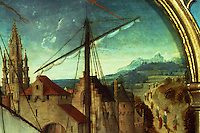 Paintings:  Hans Memling--Ursula shrine--Debarcation at Basel, detail.  Reference only.