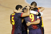 FC Barcelona Alusport's Gabriel Da Silva (l), Sergio Lozano (b), Ari Santos (c), Saad Assis (2r) and Cristian Dominguez celebrate goal during Spanish National Futsal League match.November 24,2012. (ALTERPHOTOS/Acero) /NortePhoto