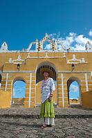 Chef Patricia Quintana in front of the Ex-convento, Izamal,Yucatan, Mexico