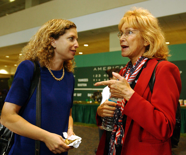 7/25/04.FLORIDA DELEGATION/DEMOCRATIC NATIONAL CONVENTION--Florida State Senator and Delegate Debbie Wasserman-Schultz, who is running for the U.S. House in Florida's 20th district, with State Rep. and delegate Eleanor Sobel during a party for the Florida Delegation at Northeastern University in Boston. .CONGRESSIONAL QUARTERLY PHOTO BY SCOTT J. FERRELL.
