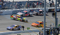 May 6, 2007; Richmond, VA, USA; Nascar Nextel Cup Series driver Casey Mears (25) spins during the Jim Stewart 400 at Richmond International Raceway. The race is being run on Sunday after being rained out on Saturday evening. Mandatory Credit: Mark J. Rebilas