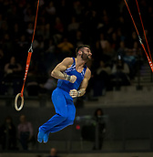 17th March 2019, M&S Arena, Liverpool, England; Gymnastics British Championships day 4; HALL James, Pegasus Gym Club in the  Men's Artistic Masters Rings Final which he finished first