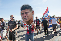 Santa Clara, CA - Friday June 3, 2016: USA fans carry a cutout of a crying James Rodriguez before the game. USA played Colombia in the opening match of the Copa América Centenario game at Levi's Stadium.