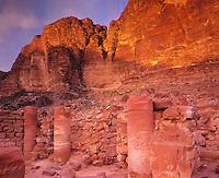 Nabataean Temple remains   Wadi Rum, Jordan  View toward  Jebel Rum     Two thousand year old ruins