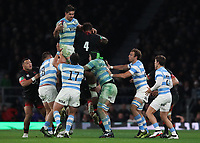 England's Courtney Lawes attempts to spoil line out ball <br /> <br /> Photographer Rachel Holborn/CameraSport<br /> <br /> International Rugby Union Friendly - Old Mutual Wealth Series Autumn Internationals 2017 - England v Argentina - Saturday 11th November 2017 - Twickenham Stadium - London<br /> <br /> World Copyright &copy; 2017 CameraSport. All rights reserved. 43 Linden Ave. Countesthorpe. Leicester. England. LE8 5PG - Tel: +44 (0) 116 277 4147 - admin@camerasport.com - www.camerasport.com