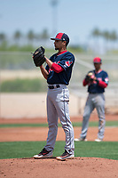 Cleveland Indians relief pitcher Yeffersson Yannuzzi (45) prepares to deliver a pitch during an Extended Spring Training game against the Arizona Diamondbacks at the Cleveland Indians Training Complex on May 27, 2018 in Goodyear, Arizona. (Zachary Lucy/Four Seam Images)