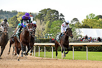 HOT SPRINGS, AR - APRIL 14: Oaklawn Park on April 14, 2018 in Hot Springs,Arkansas.#6 Magnum Moon with jockey Luis Saez winning race. . (Photo by Ted McClenning/Eclipse Sportswire/Getty Images)
