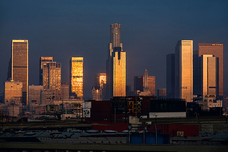Highrise buildings in America at dawn or dusk