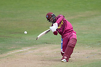 Shai Hope (West Indies) goes down the wicket and over the top for four during West Indies vs New Zealand, ICC World Cup Warm-Up Match Cricket at the Bristol County Ground on 28th May 2019