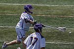 Sean Eccles (#38) fires a shot as  UAlbany Lacrosse defeats Vermont 14-4  in the American East Conference Championship game at Casey Stadium, May 5.
