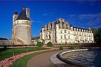 AJ1629, Loire Valley, Castle, France, Chenonceau, Europe, Scenic view of the 16th Century Chateau de Chenonceau in the Loire Castle Region in Chenonceau, France.