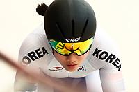 Picture by Alex Whitehead/SWpix.com - 09/12/2017 - Cycling - UCI Track Cycling World Cup Santiago - Velódromo de Peñalolén, Santiago, Chile - Republic of Korea's Wongyeong Kim competes in the Women's Sprint qualifying.