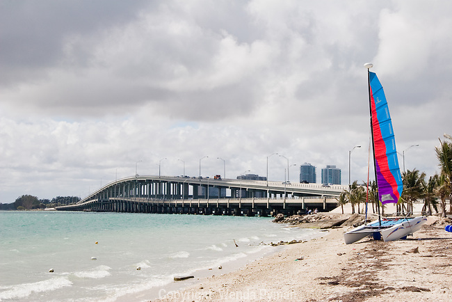 The Rickenbacker Causeway connects Miami to Virginia Key and Key Biscayne across Biscayne Bay.