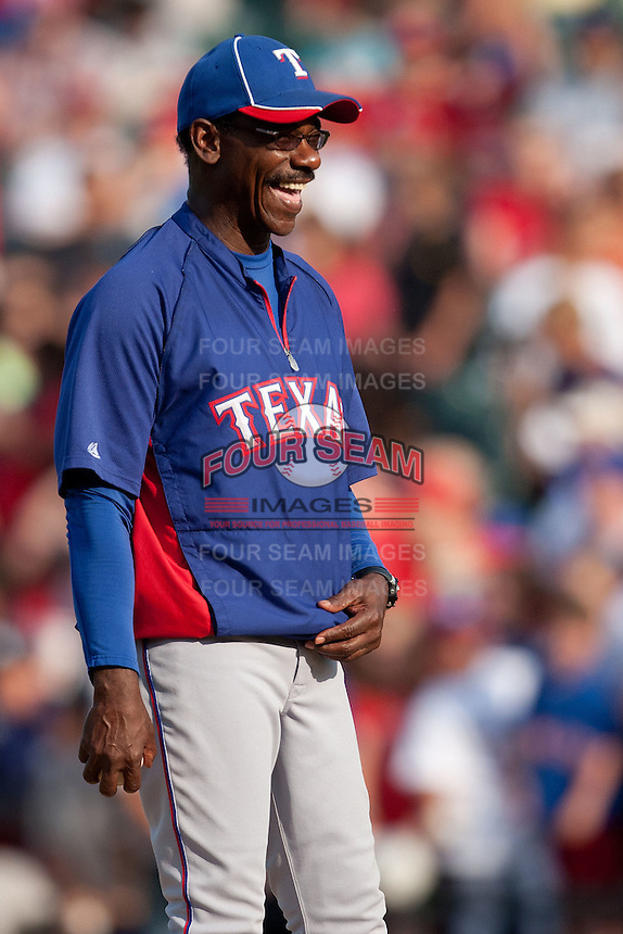 "Texas Rangers manager Ron Washington #38 smiles before the MLB exhibition baseball game against the ""AAA"" Round Rock Express on April 2, 2012 at the Dell Diamond in Round Rock, Texas. The Rangers out-slugged the Express 10-8. (Andrew Woolley / Four Seam Images)."