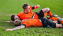 United's Johnny Russell is congratulated after he scores united's third.