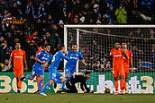 12th January 2018, Estadio Coliseum Alfonso Perez, Getafe, Spain; La Liga football, Getafe versus Malaga; Juan Cala (Getafe CF) scores and celebrates his goal which made it 1-0
