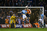 Blackpool's Tom Aldred battles for possession with Luton Town's Oliver Lee<br /> <br /> Photographer Craig Mercer/CameraSport<br /> <br /> The EFL Sky Bet League Two Play-Off Semi Final Second Leg - Luton Town v Blackpool - Thursday 18th May 2017 - Kenilworth Road - Luton<br /> <br /> World Copyright &copy; 2017 CameraSport. All rights reserved. 43 Linden Ave. Countesthorpe. Leicester. England. LE8 5PG - Tel: +44 (0) 116 277 4147 - admin@camerasport.com - www.camerasport.com