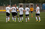 Edinburgh City players celebrating number 9 Craig Beattie's 49th minute equaliser after Annan Athletic' had gone ahead through David McKenna's 29th opener. The match ended in a 1-1 draw, watched by 351 spectators. City were still without a League win in the new season.