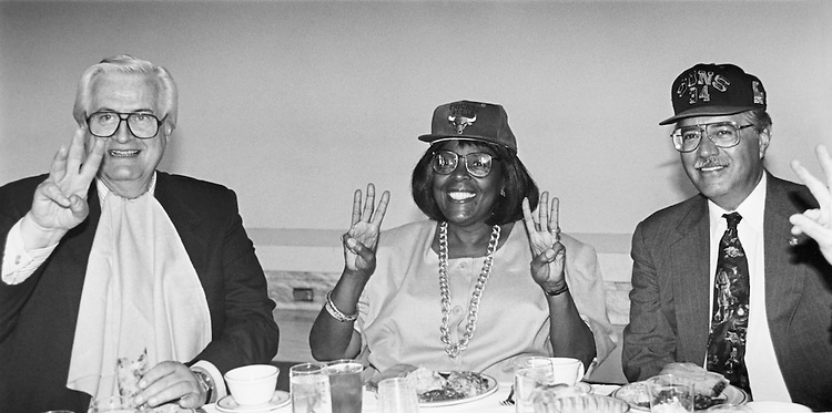 Rep. Henry Hyde, R-Ill. Rep. Cardiss Collins, D-Ill. and Rep. Ed Pastor, D-Ariz. at luncheon sponsored by Arizona Delegation as payoff on bet over Basketball Championship. No hard feelings between Henry Hyde and Cardiss Collins. July 13, 1993. (Photo by Maureen Keating/CQ Roll Call)