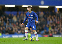 9th November 2019; Stamford Bridge, London, England; English Premier League Football, Chelsea versus Crystal Palace; Billy Gilmour of Chelsea on the ball - Strictly Editorial Use Only. No use with unauthorized audio, video, data, fixture lists, club/league logos or 'live' services. Online in-match use limited to 120 images, no video emulation. No use in betting, games or single club/league/player publications