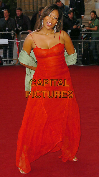 "LISA I'ANSON.At the ""Diamonds"" Private View & Launch Party in association with Vanity Fair held at the Natural History Museum, London, July 7th 2005..full length red dress.Ref: CAN.www.capitalpictures.com.sales@capitalpictures.com.©Can Nguyen/Capital Pictures"