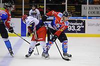 IJSHOCKEY: HEERENVEEN: 14-12-2013, IJsstadion Thialf, UNIS Flyers - Dordrecht Lions, uitslag 10-0, Dan Koudys (#13 | Dordrecht), Aldo van Aalderen (#11 | Flyers), ©foto Martin de Jong